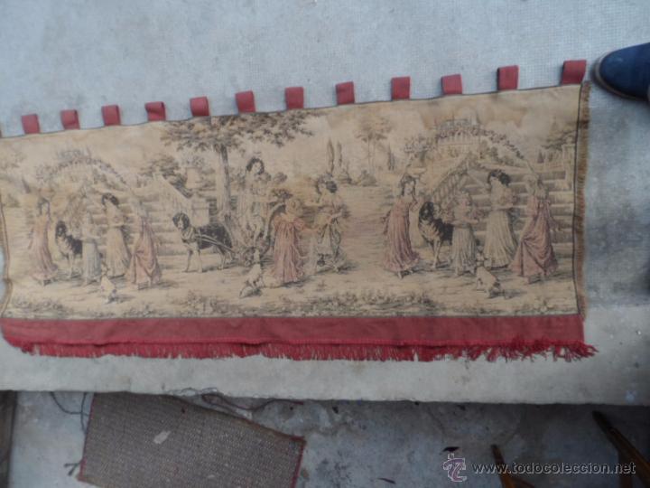 Antigüedades: copete tapiz precioso volante de cortina antiguo 1.40 metros cortina de tapiceria - Foto 3 - 54285216