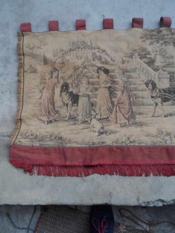 Antigüedades: copete tapiz precioso volante de cortina antiguo 1.40 metros cortina de tapiceria - Foto 4 - 54285216