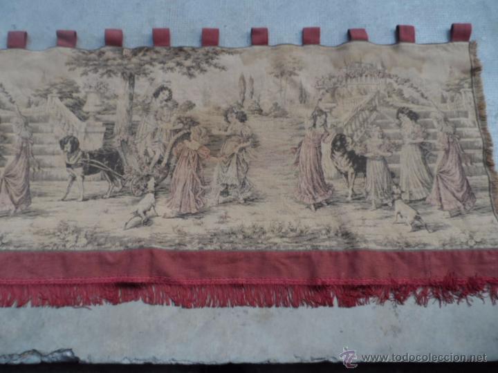 Antigüedades: copete tapiz precioso volante de cortina antiguo 1.40 metros cortina de tapiceria - Foto 5 - 54285216
