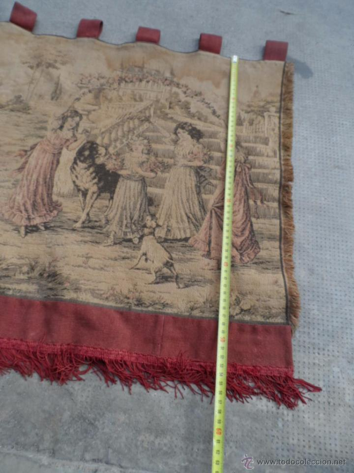 Antigüedades: copete tapiz precioso volante de cortina antiguo 1.40 metros cortina de tapiceria - Foto 6 - 54285216