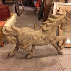 Antigüedades: GRAN CABALLO EN PAPEL MACHE, PARECE MADERA. Lote 54291627