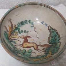 Antigüedades: CUENCO CERAMICA CON ZORRO PUENTE ARZOBISPO FIRMADO SANGUINO. Lote 54294351