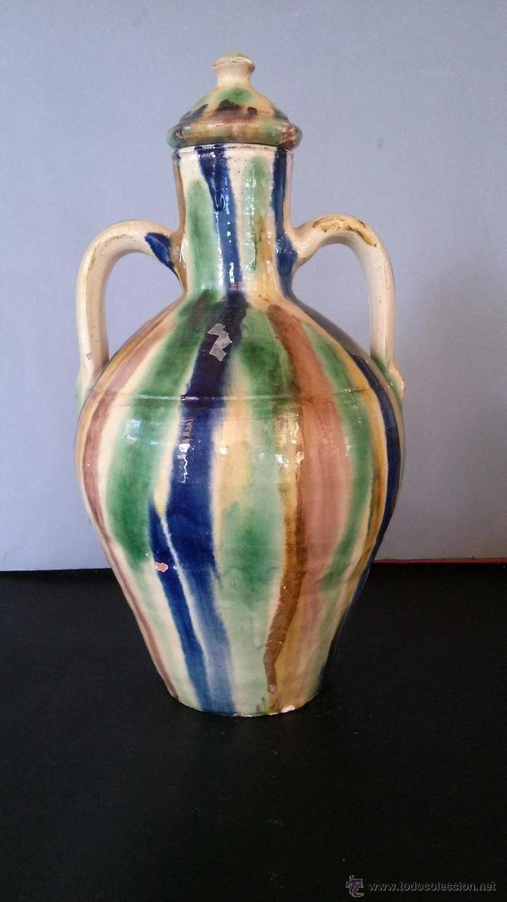 CÁNTARO PEQUEÑO DE ALHABIA (ALMERÍA) CON TAPADERA (Antigüedades - Porcelanas y Cerámicas - Otras)