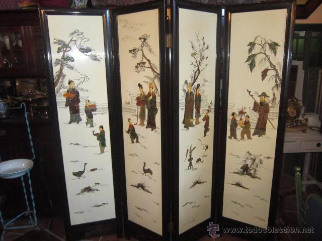 Fant stico biombo chino con escenas cotidianas vendido en venta directa 54313675 - Biombos chinos antiguos ...