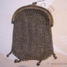 Antigüedades: ANTIGUO MONEDERO DE MALLA EN PLATA. 65 GMS. MEDIDA: 6 X 9 CMS.. Lote 54317806
