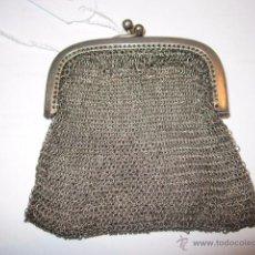 Antigüedades: ANTIGUO MONEDERO DE MALLA EN PLATA. 50 GMS. MEDIDA: 6,5 X 7,5 CMS.. Lote 54317842