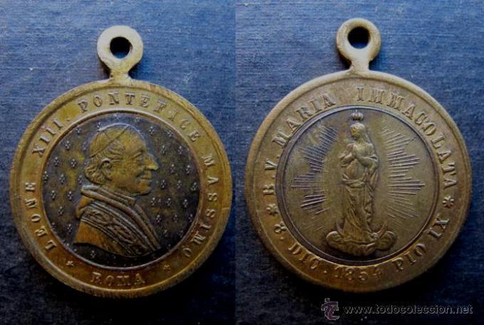 MEDALLA RELIGIOSA ANTIGUA PAPA LEON XIII MARIA INMACULADA AÑO 1854 (Antigüedades - Religiosas - Medallas Antiguas)