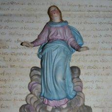 Antigüedades: EXTRAORDINARIA PILA BENDITERA EN PORCELANA BISCUIT POLICROMADO,S. XIX. Lote 54331187
