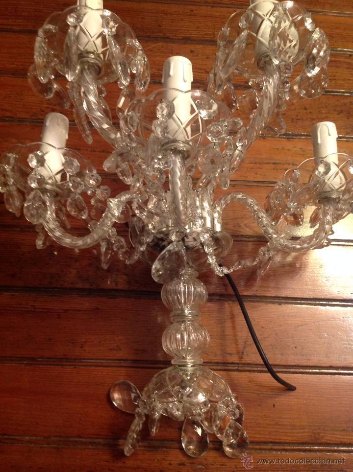 Antigüedades: gran aplique de cristal de cinco luces (2) - Foto 5 - 54336710
