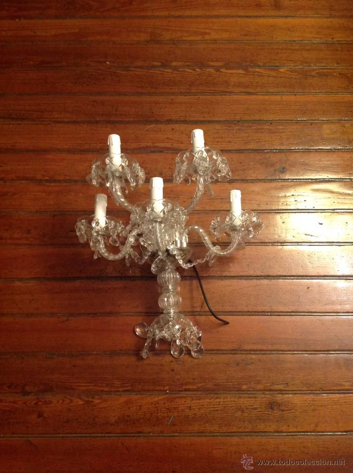Antigüedades: gran aplique de cristal de cinco luces (2) - Foto 6 - 54336710