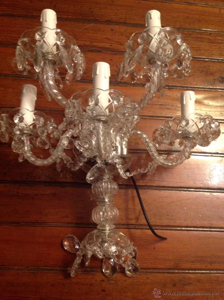 Antigüedades: gran aplique de cristal de cinco luces (2) - Foto 8 - 54336710