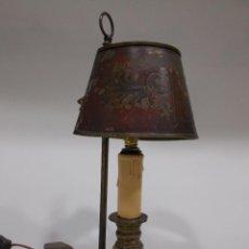 Antigüedades: LÁMPARA PALMATORIA ELÉCTRICA MODERNISTA, ART NOUVEAU, JUGENDSTIL, TULIPA DE METAL ESMALTADA. Lote 54346878