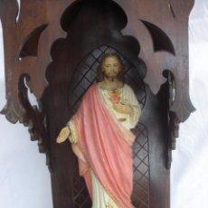 Antigüedades: ANTIGUA HORNACINA O CAPILLA MADERA CON LUZ PARA IMAGEN RELIGIOSA ESTILO GOTICO. Lote 54347585