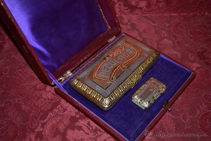 Antigüedades: MAGNIFICO ESTUCHE CON PITILLERA Y CAJA DE CERILLAS EN PLATA DORADA CONTRASTADA,S. XIX - Foto 5 - 54356398