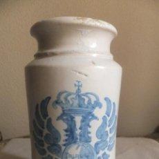 Antigüedades: ALBARELO O BOTE DE FARMACIA CERAMICA TALAVERA ( TOLEDO ) CON AGUILA BICEFALA S.XIX. Lote 54358009