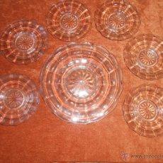 Antigüedades: JUEGO DE POSTRE- DE VIDRIO PRENSADO -AÑOS 50. Lote 54360449