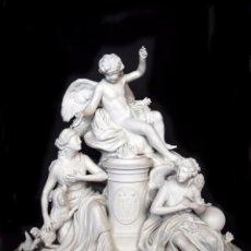 Antigüedades: SEVRES S.XIX, ANTIGUA GRAN PORCELANA BISCUIT NEOCLÁSICA, GRUPO ALEGÓRICO DE CUPIDO, PSIQUE Y VENUS. Lote 54372672