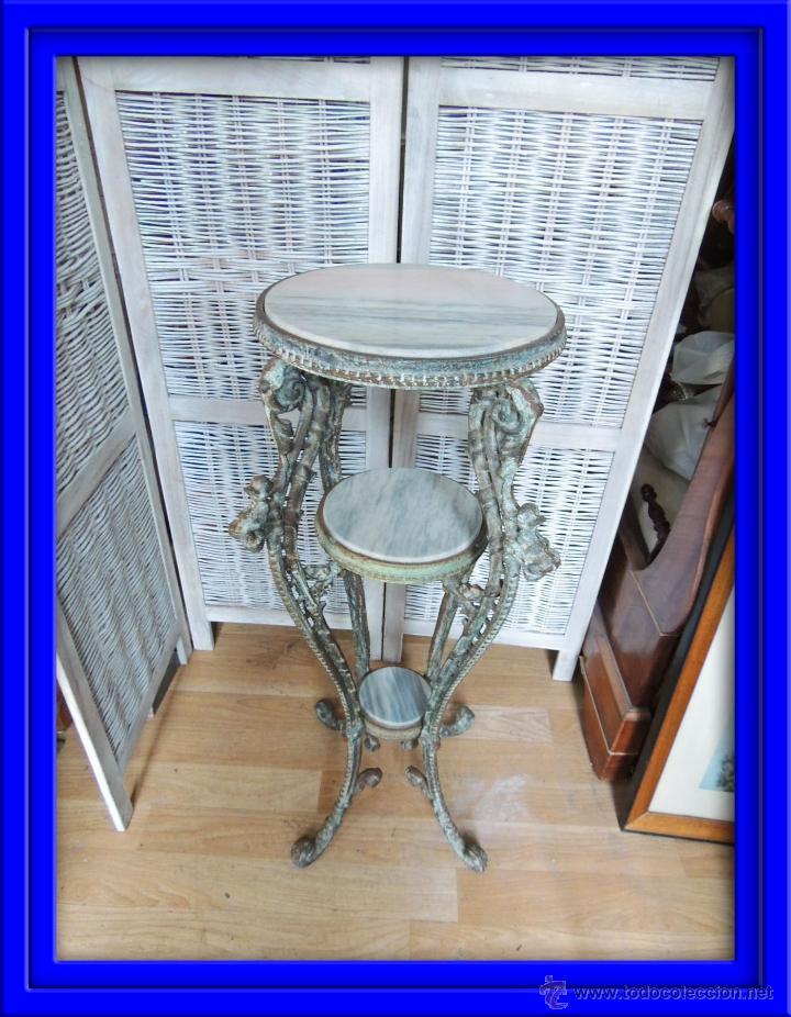 preciosa mesa de hierro antigua con bases de ma - Comprar Muebles ...