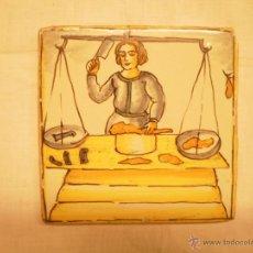 Antigüedades: AZULEJO DE OFICIOS. CARNICERO. S. XVIII. Lote 54393263
