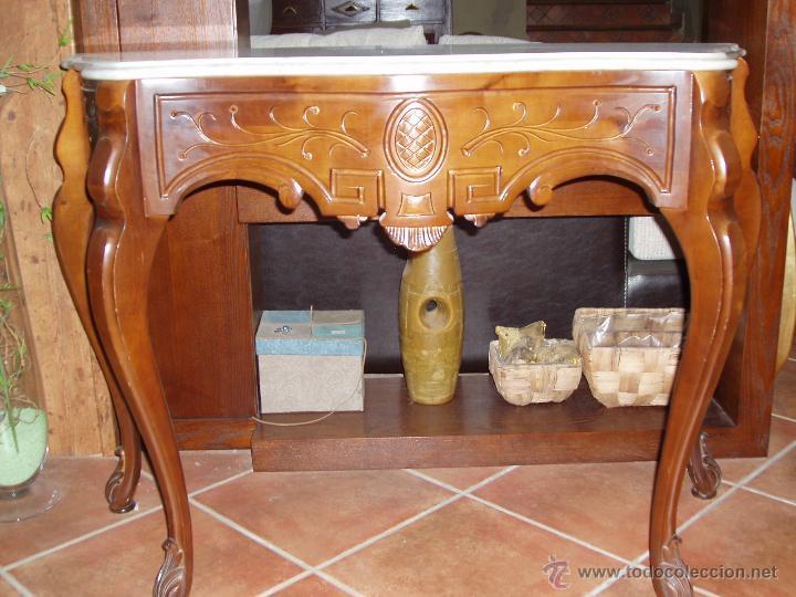 CONSOLA DE CAOBA CON MARMOL. (Antigüedades - Muebles Antiguos - Consolas Antiguas)