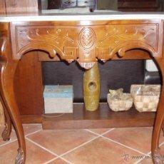 Antigüedades: CONSOLA DE CAOBA CON MARMOL.. Lote 54395587