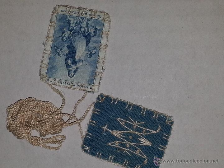 Antigüedades: antiguo escapulario virgen maria purisima con la maria bordada - Foto 2 - 54398503