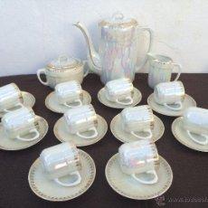 Antigüedades: JUEGO ANTIGUO DE CAFE EN PORCELANA SELLADO EPIAG APOCA MODERNISTA. Lote 54408394