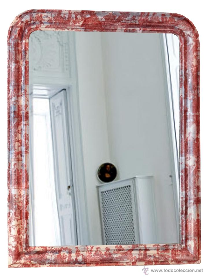Antigüedades: Antiguo espejo isabelino, restaurado,decorado con toile de jouy granate. - Foto 2 - 54421548