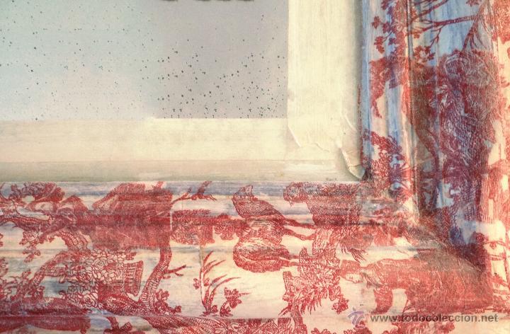 Antigüedades: Antiguo espejo isabelino, restaurado,decorado con toile de jouy granate. - Foto 3 - 54421548