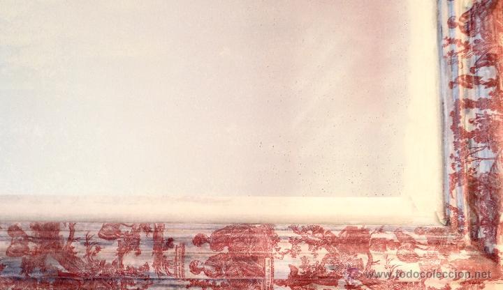 Antigüedades: Antiguo espejo isabelino, restaurado,decorado con toile de jouy granate. - Foto 4 - 54421548