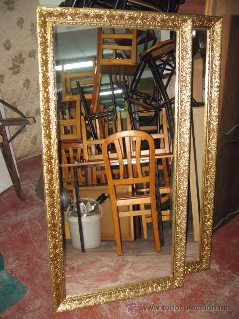 Espejo rectangular grande marco dorado de mader comprar for Espejo dorado grande