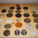 Antigüedades: COGANTES TIBETANOS DE PIEDRA LABRADA. Lote 168618374