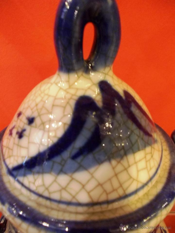 Antigüedades: preciosa JARRA GRANDE CON ASAS de 20cm ESTILO DELFt CRAQUELADO en perfecto estado - Foto 7 - 49502564