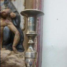 Antigüedades: CANDELABRO DE 31CM METAL PLATEADO PARA VELA O VELON - SEMANA SANTA - CRISTO - VIRGEN - OLOT - SANTO. Lote 54465066