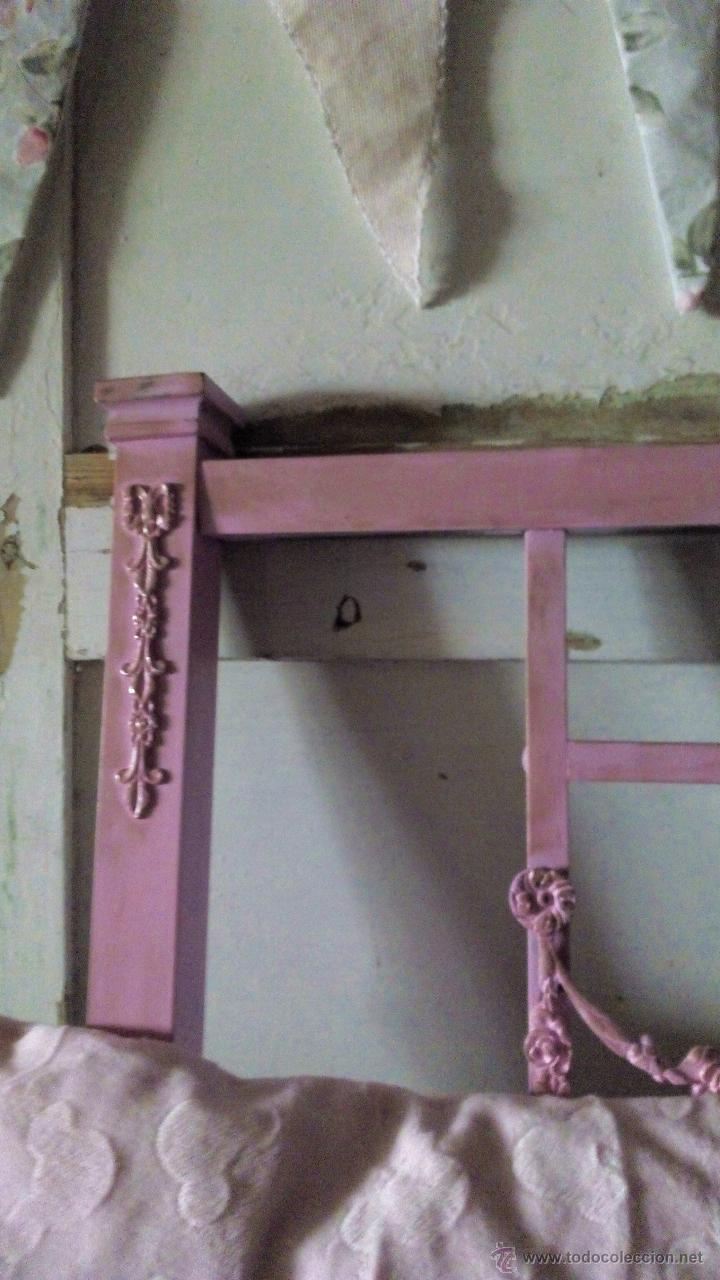 Antigüedades: ANTIGUO CABECERO DE METAL ROSA - Foto 2 - 54471246