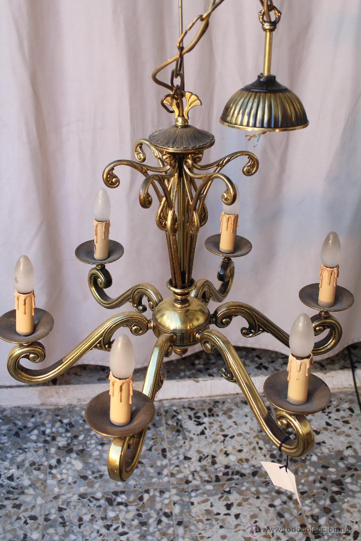 Antigüedades: lampara de techo en bronce - Foto 2 - 54483309