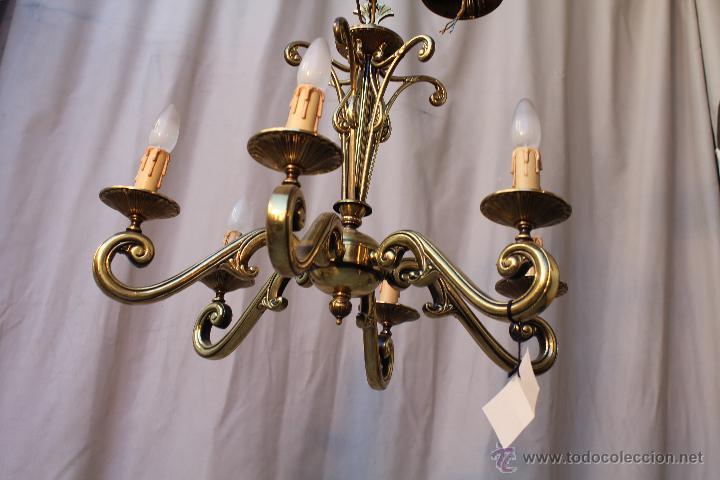 Antigüedades: lampara de techo en bronce - Foto 5 - 54483309