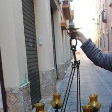 Antigüedades: LAMPARA HIERRO FORJADO HECHA A MANO. Lote 54495207