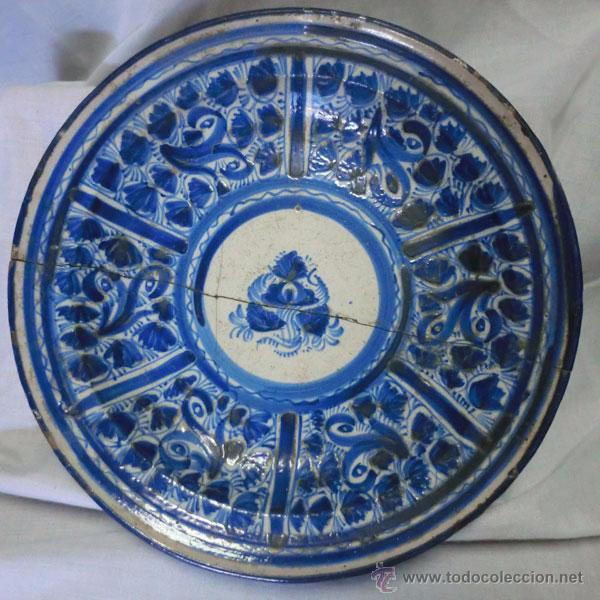 ANTIGUO PLATO DE MANISES , 30 CM , LAÑADO (Antigüedades - Porcelanas y Cerámicas - Manises)