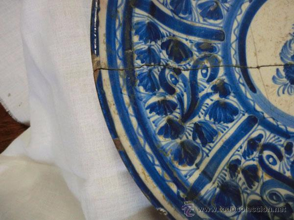 Antigüedades: ANTIGUO PLATO DE MANISES , 30 CM , LAÑADO - Foto 6 - 54511279