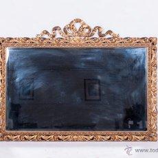 Antigüedades: ANTIGUO ESPEJO DE MADERA DORADO CON PAN DE ORO. Lote 54542212
