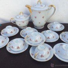Antigüedades: JUEGO ANTIGUO DE CAFÉ EN PORCELANA DE BAVARIA SELLADO. Lote 54544970