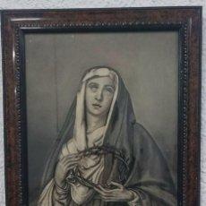 Antigüedades: ANTIGUA DOLOROSA, PIEDAD PINTADA AL CARBONICILLO Y FIRMADA. FECHADA DE 1915. LEER. Lote 54546077