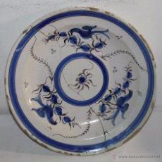 Antigüedades: PLATO EN CERÁMICA ESMALTADA DE MANISES - 3 PÁJAROS AZULES - SIGLO XIX - 31 CM. DE DIÁMETRO. Lote 54579048