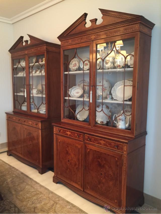 2 vitrinas estilo ingles en madera de raiz y ma comprar - Madera para marqueteria ...