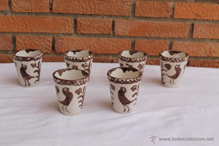CONJUNTO DE 6 VASOS DE CERAMICA DE FAJALAUZA MANGANESO (Antigüedades - Porcelanas y Cerámicas - Fajalauza)