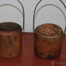 Antigüedades: ARTE PASTORIL - ANTIGUOS BOTES DE MADERA Y CORCHO FIAMBRERA - PASTOREO. Lote 54596123