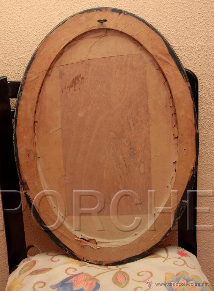 Antigüedades: 1 MARCO DE MADERA OVALADO AÑOS 40-50 - 55,5X40 cm - CON FOTO - FOTOFRAFO REIG TARRASA 47X31 cm- - Foto 2 - 54596643