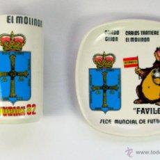 Antigüedades: MUNDIAL FUTBOL 1982. ASTURIAS. GIJON. OVIEDO. FAVILON MASCOTA. PLATO Y JARRON. SAN CLAUDIO. Lote 54619650