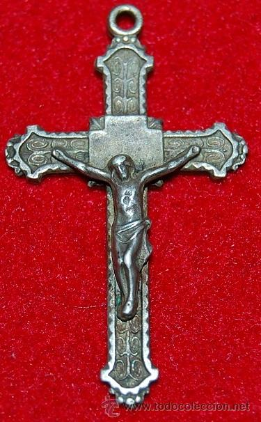 ANTIGUA CRUZ PECTORAL DE METAL (Antigüedades - Religiosas - Crucifijos Antiguos)